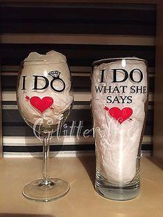 I Do & I Do What She Says Funny Wedding Diy Wine Glass Vinyl Decal Stickers