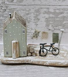 Your place to buy and sell all things handmade Wood Block Crafts, Wooden Crafts, Diy And Crafts, Small Wooden House, Wooden Cottage, Driftwood Projects, Driftwood Art, Ceramic Houses, Wooden Houses