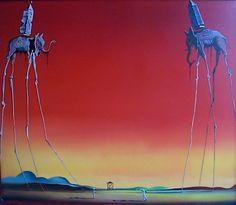 Salvador Dali - Salvador Dali Les Elephants: represents the struggle of good verse evil. perfect for my next tattoo. so hyped.