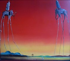 Salvador Dali - Salvador Dali Les Elephants: represents the struggle of good verse evil. perfect for my next tattoo. so hyped.