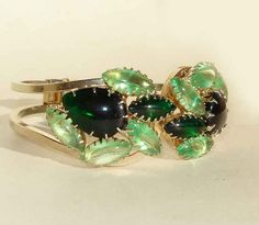 Vintage Juliana Bracelet DeLizza & Elster 60s Green Rhinestone Clamper by metroretrovintage, $60.00