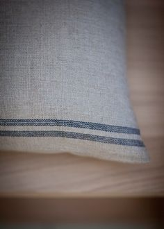 Stripe Cushion in Natural Blue at Garden Trading