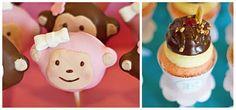 Monkey birthday party desserts Banana split cupcakes and monkey cake pops ella-s-first-birthday