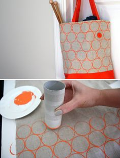 @Janice Unger --- hey mom, this is for Maggi and her rolls!  DIY Toilet Paper Roll Printing on fabric -- tutorial from Lime Riot: http://limeriot.blogspot.ch/2012/08/toilet-paper-roll-printing-tutorial.html