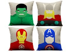 Set of 4 avengers pillowcases thor pillow by GEEKandtheCHIC