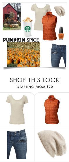 """""""pumpkin spice"""" by im-karla-with-a-k ❤ liked on Polyvore featuring Marmot, Balmain, Halogen and OPI"""