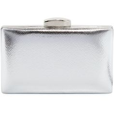 La Sera Leverage Metallic Clutch Bag ($30) ❤ liked on Polyvore featuring bags, handbags, clutches, grey, box clutch, metallic box clutch, chain handle handbags, chain strap purse and chain strap handbags
