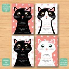 x4 cat kitty kitten birthday invitation  SELF by MyFirstInvitation