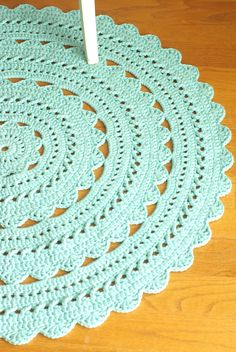 Crochet Doily Rug SARA Aqua / Robin Egg Round by hennasboutique…Crochet pattern for Abigail rug, size A pdf file will be sent to your email instantly after payment is received. The pattern is written very clearly upon 7 pages and includes a crochet Crochet Doily Rug, Crochet Rug Patterns, Crochet Carpet, Crochet Round, Crochet Designs, Diy Crafts Crochet, Crochet Home, Free Crochet, Tapete Doily
