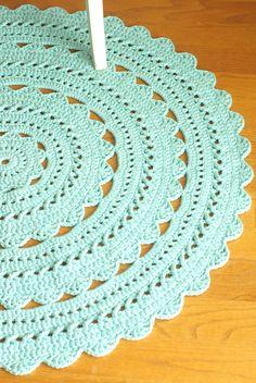"""Crochet Doily Rug SARA - Aqua / Robin Egg - Round 35"""" / 89cm. $95.00, via Etsy."""