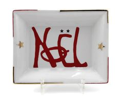 Vide poche rectangulaire de porcelaine fine Noël rouge et or Creations, Christmas Tabletop, Porcelain, Hands, Red, Noel