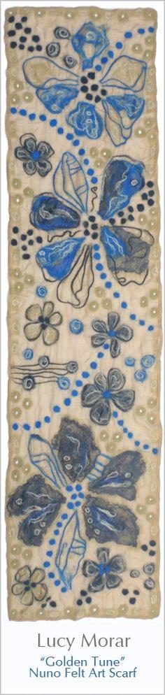 Golden Tune / Nuno Felt Art Scarf by Lucy Morar  www.only-lu.com
