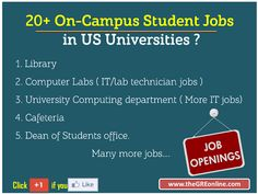 20+ On-Campus Student Jobs in US Universities ? - Online GRE Revised