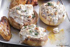 Gefüllte Champignons mit Nüssen und Frischkäse
