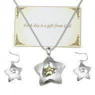 "Amazon.com: Designer Inspired Silver Tone Necklace Set,""each Day Is Gift"" Neckalce Set / Two-tone / Length: 18"" + 2""ext: Jewelry"
