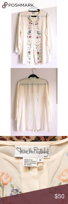 "Vintage DvF Sheer Silk Top size M Vintage DVF sheer cream embroidered top size M medium. 100% silk, embroidered flowers down the front, 30"" shoulder to hem, so pretty and with minimal signs of wear all pictured in last pic: tags unraveling in the back, one run across the right breast, weird matting by one button. Fell in love with this n bought second hand but I'm realizing it's not really my style, no matter how much I want it to be 😫 offers welcome !! ☺️ Diane von Furstenberg Tops Button…"
