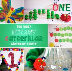 Love this idea for a 1 year old party!  Just look at that cupcake / cake caterpillar ... so creative!!