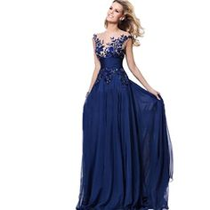 Applique Chiffon Navy Blue Evening Party Gowns gorgeous Prom Dress