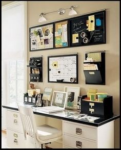 Home office ideas - wall, LOVE this setup. Will be doing this to my home office. so organized and convient. Desk Storage, Desk Organization Diy, Classic Office Furniture, Home Office Furniture, Office Desks, Study Office, Home Decor Inspiration, Decora Home, Office Makeover