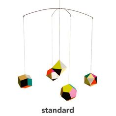 themis mobile - the Themis Collection by graphic designer and illustrator Clara von Zweigbergk is particularly marvelous. Inspired by the polyhedron solid, the faceted geometric shapes are actually hollow ornaments lending to the lightness and bounce of the mobile when touched.