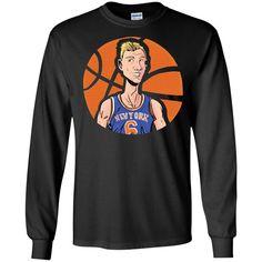 Kristaps Airzingis Porzingis KP6 T-shirt Jersey, New York Knicks, NBA NYK-01 LS Ultra Cotton Tshirt