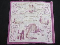VINTAGE 1920 s SOUVENIR HANDKERCHIEF NORTH EAST COAST EXHIBITION NEWCASTLE 1929