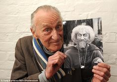 Bayldon was known for his role as Catweazle in the 1970s - above, holding a picture of himself as Catweazle in 2011
