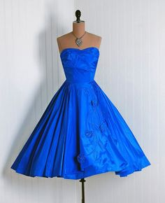 1950's Vintage RoyalBlue Sculpted by TimelessVixenVintage on Etsy