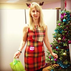 CHARM IT! HQ office look of the day! Linda looking festive in her plaid dress! #charmit #lotd