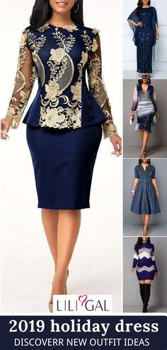 Lace Dress Styles, African Lace Dresses, Latest African Fashion Dresses, African Print Fashion, Simple Dresses, Elegant Dresses, Casual Dresses, Beautiful Dresses, Blue Dresses