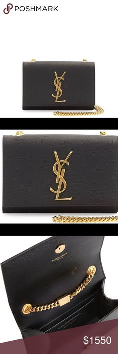 """Saint Laurent cross body bag Online Inquiries: NMF17_V1W7J      Store Inquiries: #1976680 Adorned with the iconic YSL initials, this exquisitely tailored Saint Laurent crossbody sits conveniently by your side. Pebbled calfskin with golden hardware. Chain shoulder strap pulls through top; 23"""" drop. Flap top with YSL medallion; snaps closed. Inside, fabric lining and open pocket. 4.5""""H x 6.75""""W x 2""""D. Made in Italy. Saint Laurent Bags Crossbody Bags"""