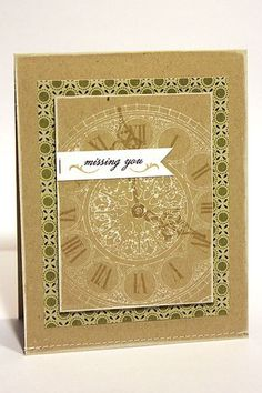 hand crafted card ... kraft  ... simple layers ... grandfather clock  face ... luv the white and olive on kraft ...