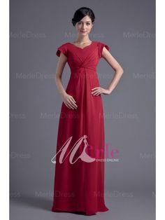 5a7c80856f Traditional Sheath Column V-neck Short Sleeves Ruffles Floor-Length Chiffon  Dress Modest
