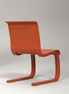 Alvar Aalto; Lacquered Bent Birch Plywood Chair for Artek, 1930s.
