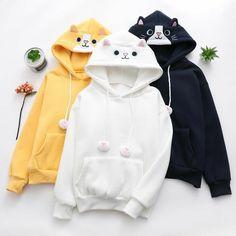 Kawaii Kitty Loose Hoodie - New Trend Kawaii Hoodie, Cute Hoodie, Sweater Hoodie, Kawaii Sweater, Hipster Sweater, Kawaii Fashion, Cute Fashion, Lolita Fashion, Hoodie Sweatshirts