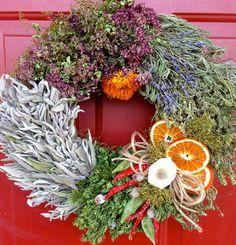 Dried Flower Wreath, Garlic Wreath,Herb Wreath, Kitchen Wreath, Dried Floral Wreath,,Chili Pepper Wreath, Culinary Wreath