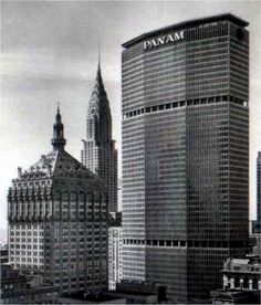 Grand Central Skyscrapers: The Helmsley Building (formerly the New York Central Building), the Chrysler Building, and the PanAm Building (now the Met Life Building) New York Architecture, Architecture Images, Amazing Architecture, Pan Am, Style International, Metlife Building, The Bowery Boys, Central Building, Portland