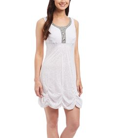 Love this White Gathered-Hem Sleeveless Dress by Dama Clothing Inc on #zulily! #zulilyfinds