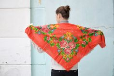 Vintage Ukrainian shawl Russian Floral Scarf red shawl by bestLuba