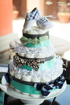 Check out Bow tie theme diaper cake...