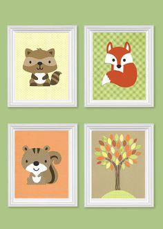 Woodland Nursery Prints Raccoon Squirrel Fox Tree Yellow Green Orange Brown Gender Neutral Boy's Girl's Room Decor Toddler 8 x 10 or 11 x 14