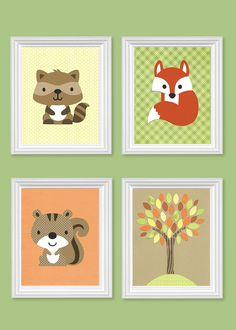 Woodland Nursery Prints Raccoon Squirrel Fox Tree Yellow Green Orange Brown Gender Neutral Boy's Girl's Room Decor Toddler 8 x 10 or 11 x 14