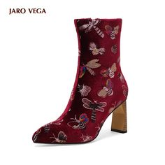 Dragonfly & Bees Embroidery Velvet Ankle Boots - Black or Red Thick Heel Boots, Thick Heels, Heeled Boots, Women's Boots, Winter Snow Boots, Womens High Heels, Dame, Peep Toe, Booty
