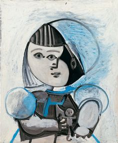 By Pablo Picasso, 1952, Paloma et sa poupée (Paloma and her doll), Oil on plywood, Private Collection.