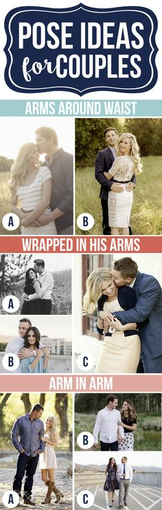 Pose Ideas for Couples- these are sooooo cute for engagements or anniversary photo shoot!