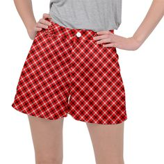 Three color tartan, red grey, black buffalo plaid theme Ripstop Shorts #pants #shorts #ripstop #cowcow #womens #fashion #look #style Red And Grey, Black, Buffalo Plaid, Tartan, Casual Shorts, Womens Fashion, Pants, Color, Design