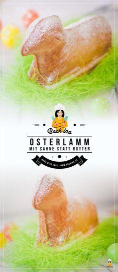 Du möchtest ein Osterlamm backen und suchst ein saftiges Osterlamm, das lange frisch bleibt? Dieses Osterlamm Rezept nutzt Sahne statt Butter im Teig - super saftig und zart!   BackIna.de