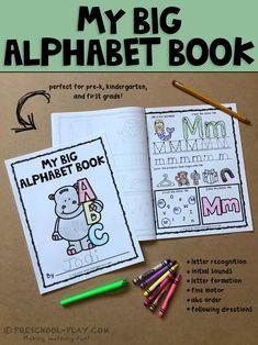 Printable alphabet book worksheets (A-Z) for preschool, pre-k, kindergarten, and 1st grade.