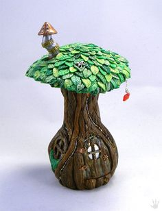 Fairy House Miniature Tree with Fairy Door by DragonTracksStudio, $80.00