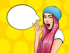 Illustration of Pop Art Vintage advertising poster comic girl with speech bubble. Pretty girl giving ok gesture vector illustration vector art, clipart and stock vectors. Art And Illustration, Illustrations Posters, Art Posters, Pop Art Vintage, Vintage Girls, Pop Art Women, Pop Art Wallpaper, Vintage Advertising Posters, Pop Art Girl